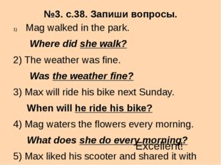 №3. с.38. Запиши вопросы. Mag walked in the park. Where did she walk? 2) The