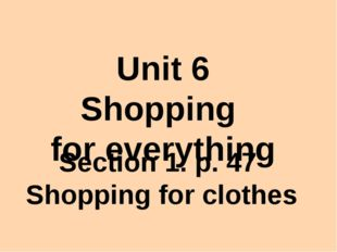 Unit 6 Shopping for everything Section 1. р. 47 Shopping for clothes