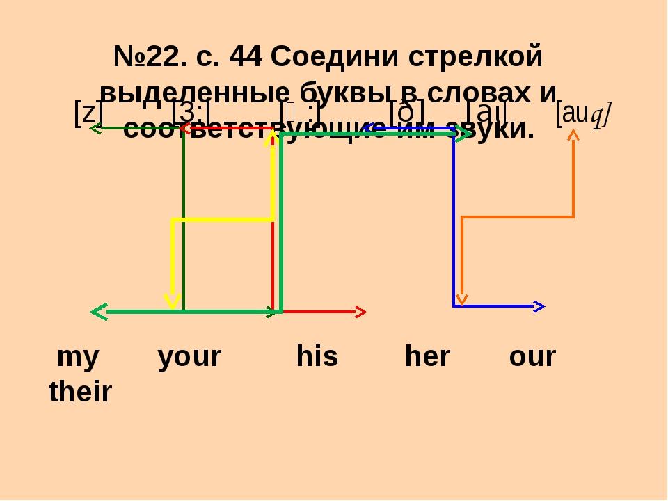 №22. с. 44 Соедини стрелкой выделенные буквы в словах и соответствующие им зв...