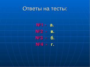 Ответы на тесты: №1 - а. №2 - в. №3 - б. №4 - г.