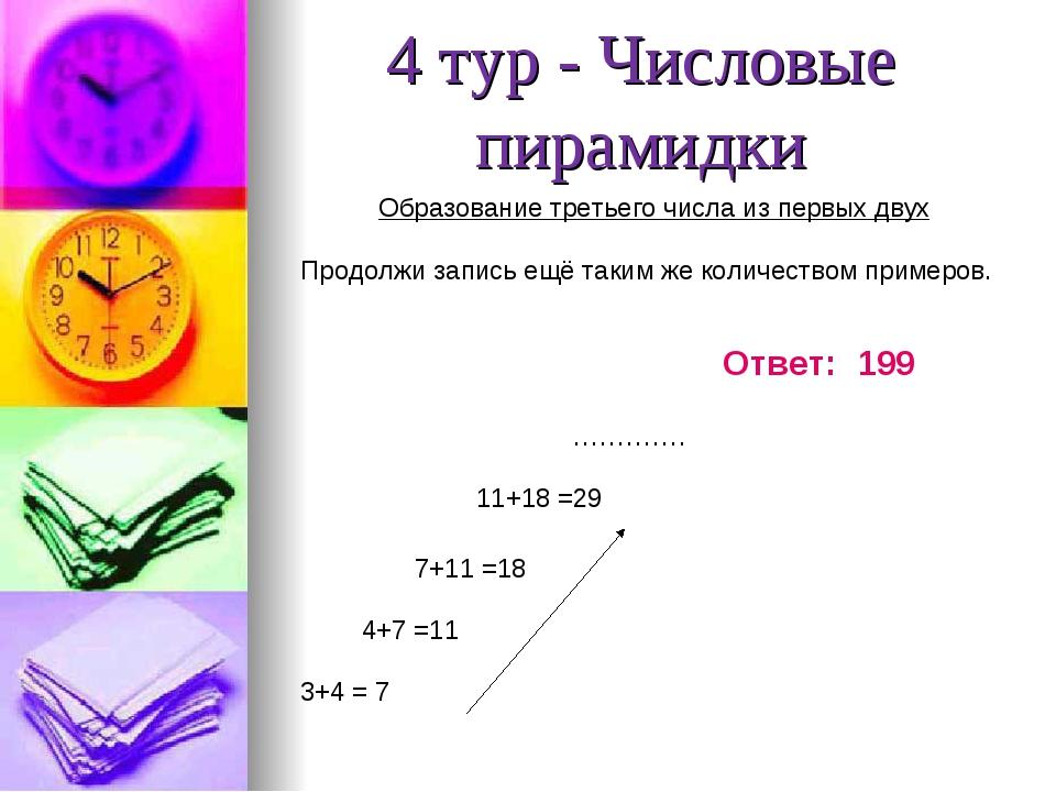 4 тур - Числовые пирамидки Образование третьего числа из первых двух Продолжи...