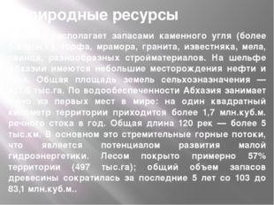 Абхазия располагает запасами каменного угля (более 5,3 млн.т.), торфа, мрамор