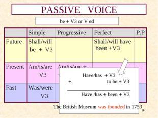 * PASSIVE VOICE be + V3 or V ed Have/has + V3 + to be + V3 __________________
