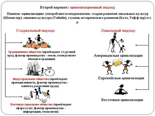 Второй вариант: цивилизационный подход Понятие «цивилизация» употребляется не...