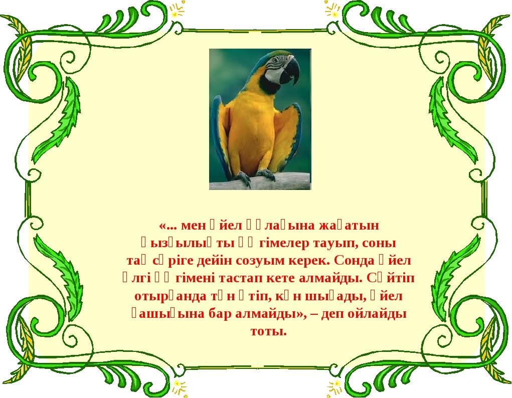 «... мен әйел құлағына жағатын қызғылықты әңгімелер тауып, соны таңсәріге дей...