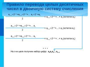 Правило перевода целых десятичных чисел в двоичную систему счисления an–12n–