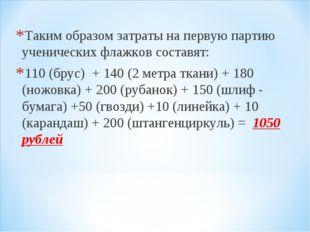 Таким образом затраты на первую партию ученических флажков составят: 110 (бру