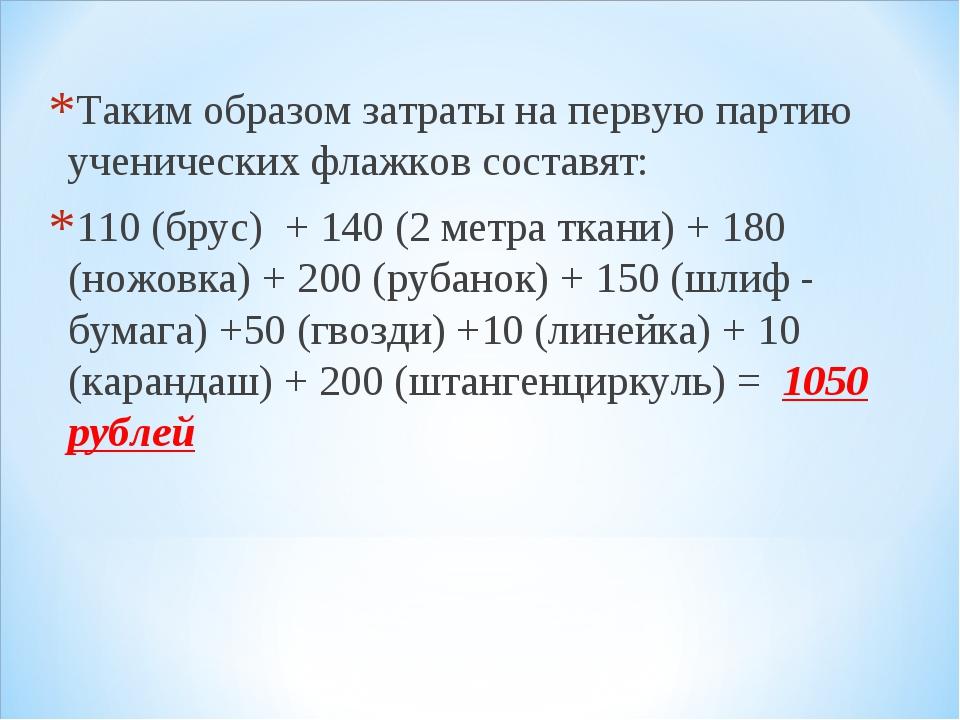 Таким образом затраты на первую партию ученических флажков составят: 110 (бру...