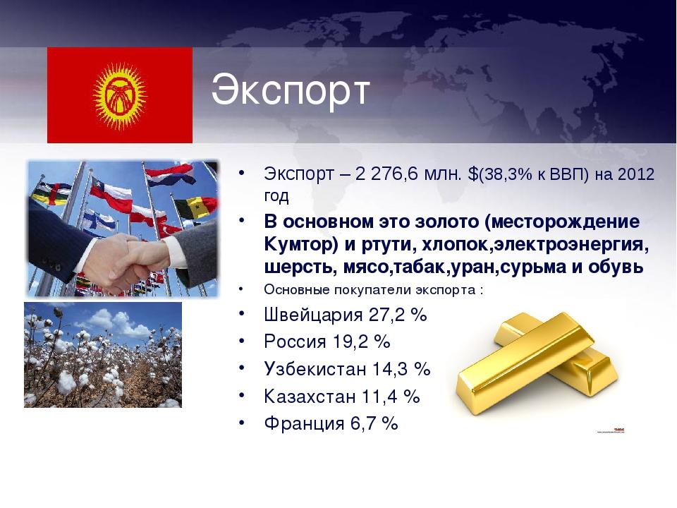 Экспорт Экспорт – 2 276,6 млн. $(38,3% к ВВП) на 2012 год В основном это золо...