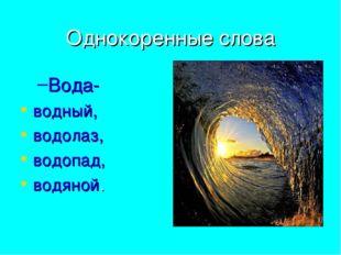 Однокоренные слова Вода- водный, водолаз, водопад, водяной.