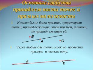 Основные свойства принадлежности точек и прямых на плоскости Какова бы не был