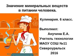 Значение минеральных веществ в питании человека. Кулинария. 6 класс. Выполнил