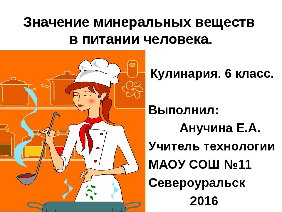 Значение минеральных веществ в питании человека. Кулинария. 6 класс. Выполнил...