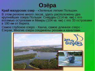 Озёра Край мазурских озер - «Зеленые легкие Польши». В этом регионе много лес