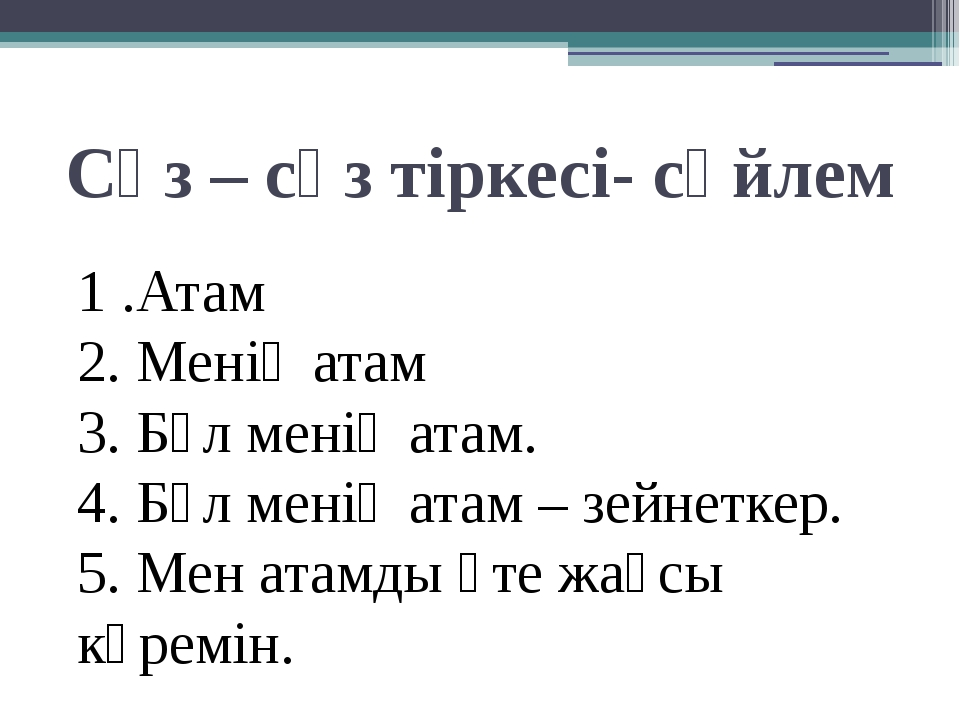 Сөз – сөз тіркесі- сөйлем 1 .Атам 2. Менің атам 3. Бұл менің атам. 4. Бұл мен...