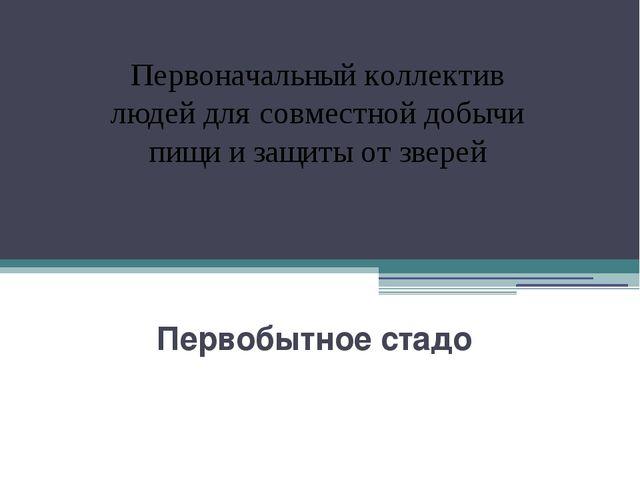 Первобытное стадо Первоначальный коллектив людей для совместной добычи пищи...