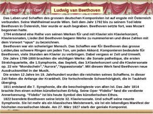 Das Leben und Schaffen des grossen deutschen Komponisten ist auf engste mit
