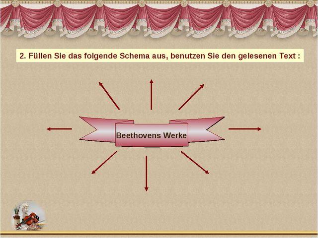 Beethovens Werke 2. Füllen Sie das folgende Schema aus, benutzen Sie den gele...