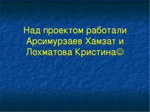 Над проектом работали Арсимурзаев Хамзат и Лохматова Кристина