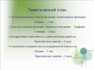 Тематический план 1. История развития понятия функции.Элементарные функции. Л