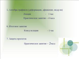 5. Алгебра графиков (деформация, дфижение, модули) Лекция - 1 час Практическо