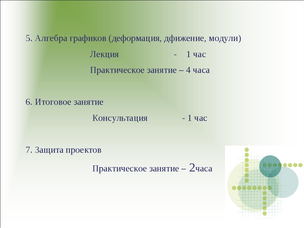 5. Алгебра графиков (деформация, дфижение, модули) Лекция - 1 час Практическо...