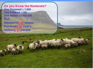 Do you Know the Numerals? One thousand = 1,000 One hundred =100 One million =