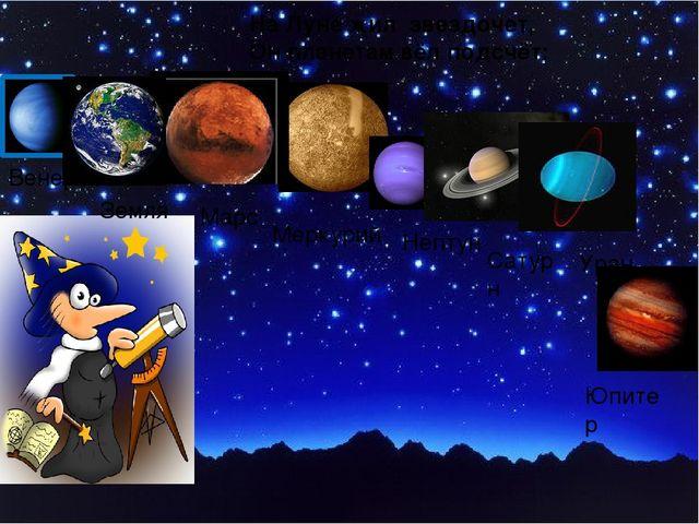 На Луне жил звездочет, Он планетам вёл подсчёт: Венера Меркурий Марс Земля Не...