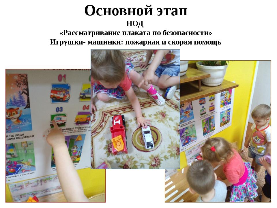 Основной этап НОД «Рассматривание плаката по безопасности» Игрушки- машинки:...