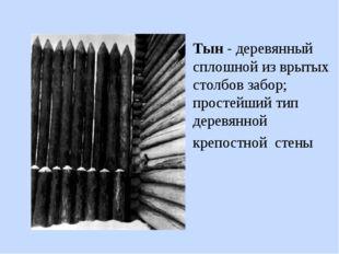 Тын - деревянный сплошной из врытых столбов забор; простейший тип деревянной