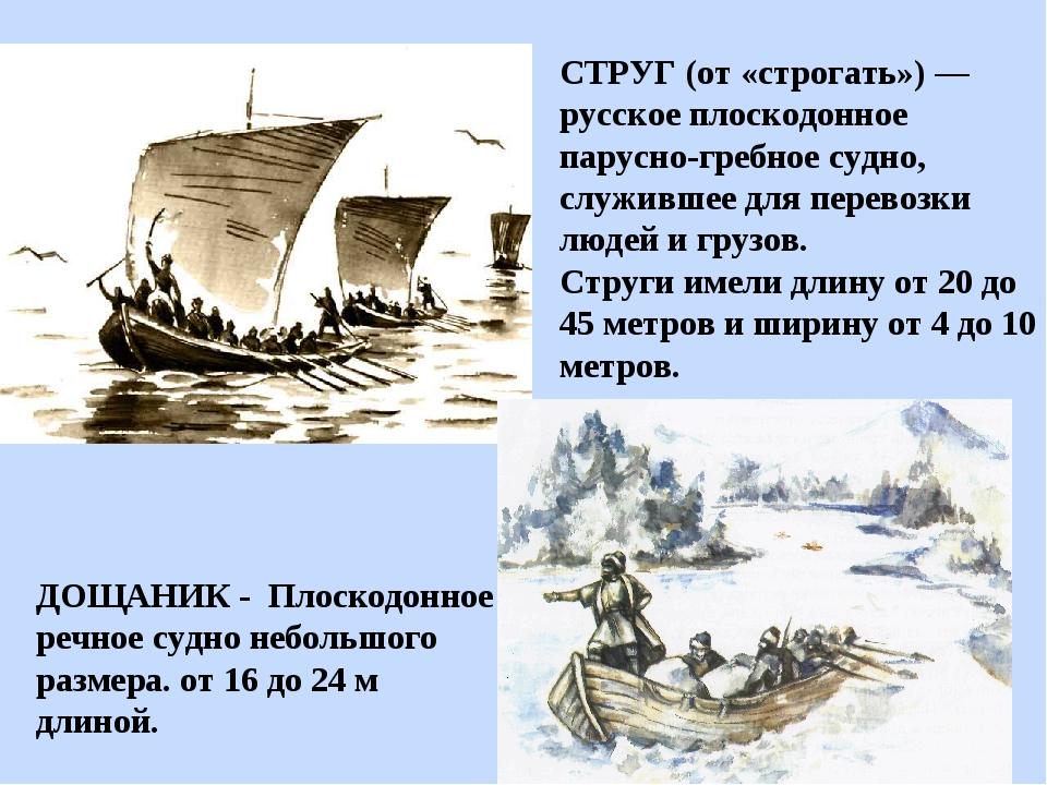 ДОЩАНИК - Плоскодонное речное судно небольшого размера. от 16 до 24 м длиной....