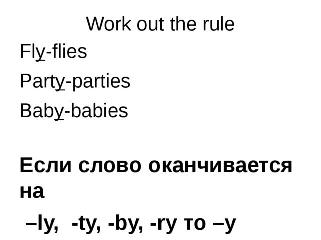 Work out the rule Fly-flies Party-parties Baby-babies Если слово оканчивается...