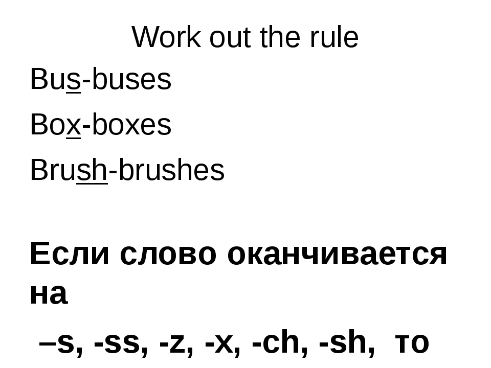 Work out the rule Bus-buses Box-boxes Brush-brushes Если слово оканчивается н...