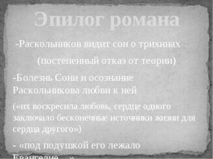 -Раскольников видит сон о трихинах (постепенный отказ от теории) -Болезнь Со