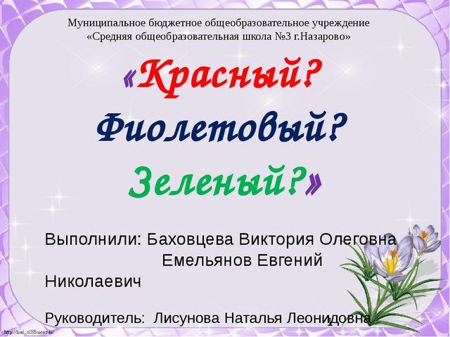 Выполнили: Баховцева Виктория Олеговна Емельянов Евгений Николаевич Руководит...