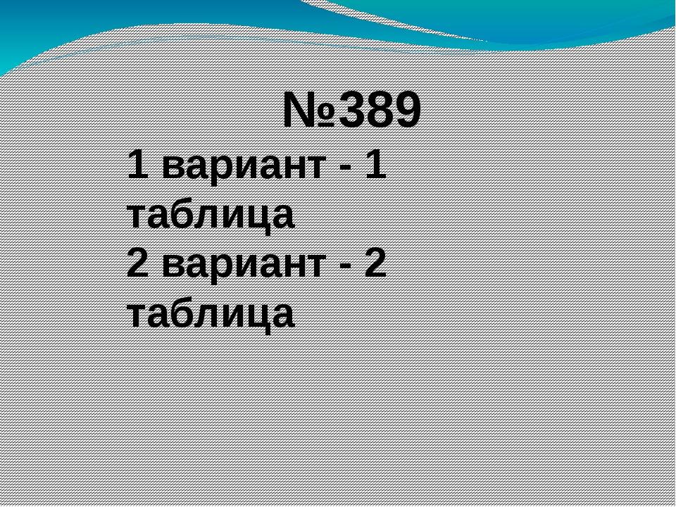 №389 1 вариант - 1 таблица 2 вариант - 2 таблица