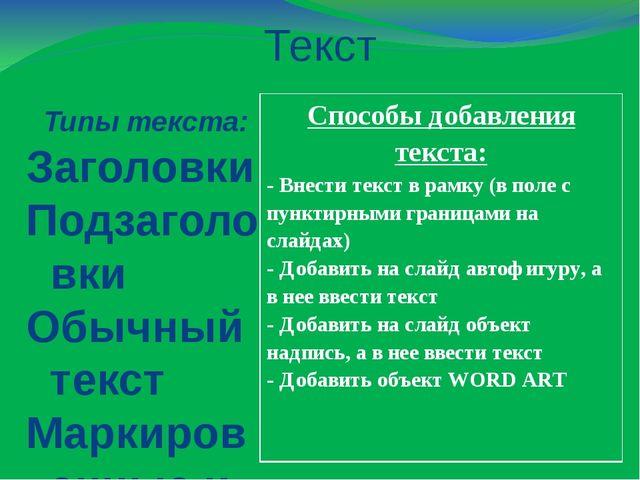 Текст Типы текста: Заголовки Подзаголовки Обычный текст Маркированные и...