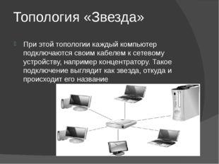 Топология «Звезда» При этой топологии каждый компьютер подключаются своим каб