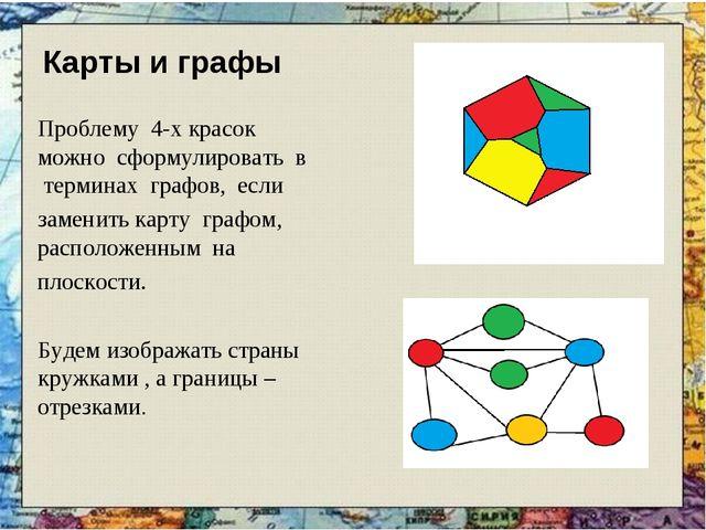 Карты и графы Проблему 4-х красок можно сформулировать в терминах графов, есл...