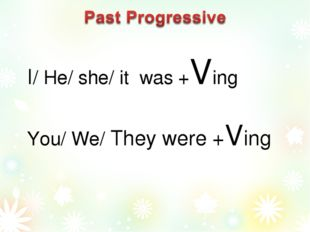 I/ He/ she/ it was +Ving You/ We/ They were +Ving