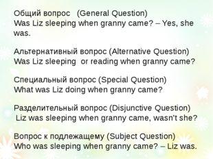 Общий вопрос (General Question) Was Liz sleeping when granny came? – Yes, she