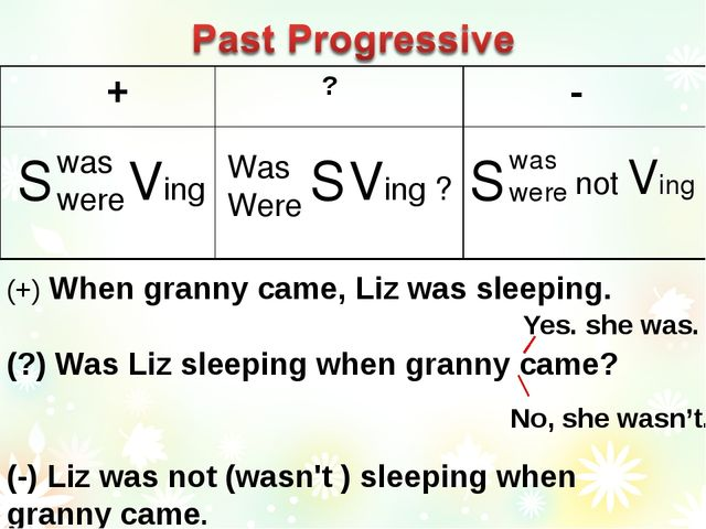 S was were Ving S Ving ? Was Were S was were not Ving (+) When granny came, L...
