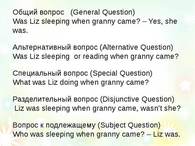 Общий вопрос (General Question) Was Liz sleeping when granny came? – Yes, she...