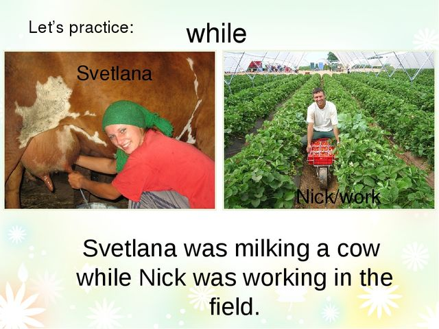 Let's practice: Svetlana was milking a cow while Nick was working in the fiel...