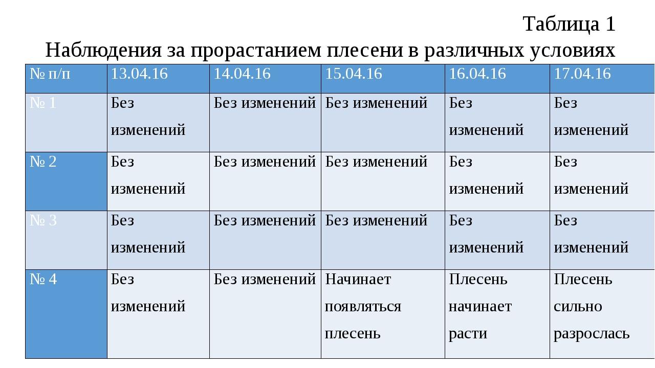 Таблица 1 Наблюдения за прорастанием плесени в различных условиях № п/п 13.04...