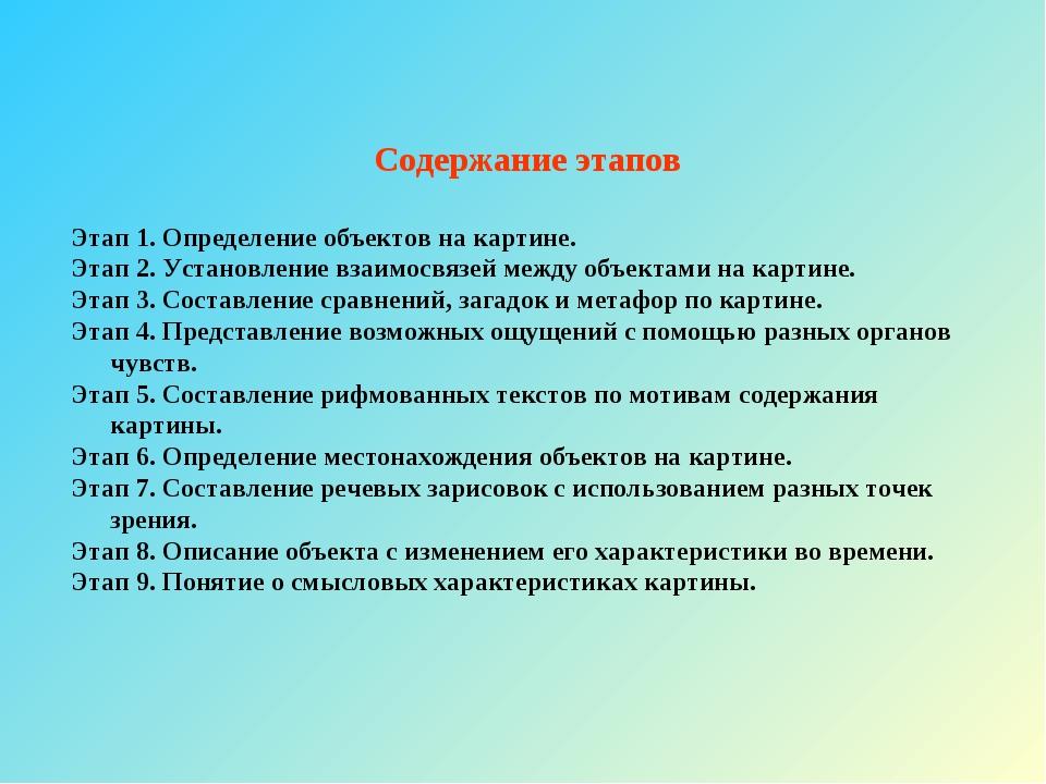 Содержание этапов Этап 1. Определение объектов на картине. Этап 2. Установлен...