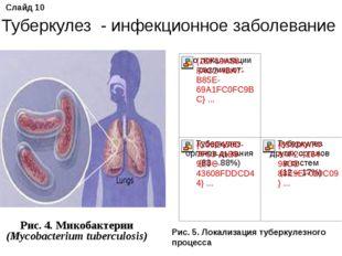 Рис. 4. Микобактерии (Mycobacterium tuberculosis) Слайд 10 Туберкулез - инфе