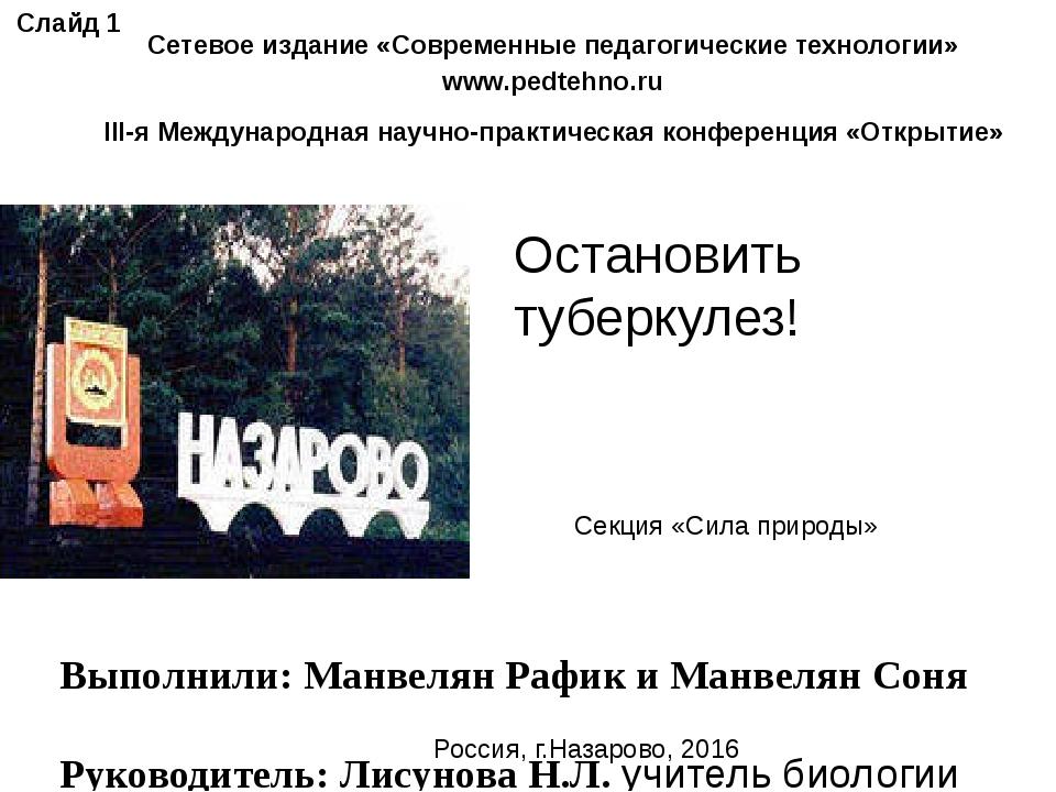 Выполнили: Манвелян Рафик и Манвелян Соня Руководитель: Лисунова Н.Л. учител...