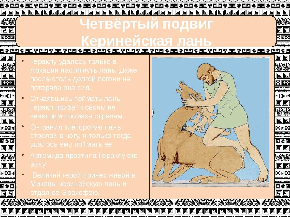 Четвёртый подвиг Керинейская лань Гераклу удалось только в Аркадии настигнут...