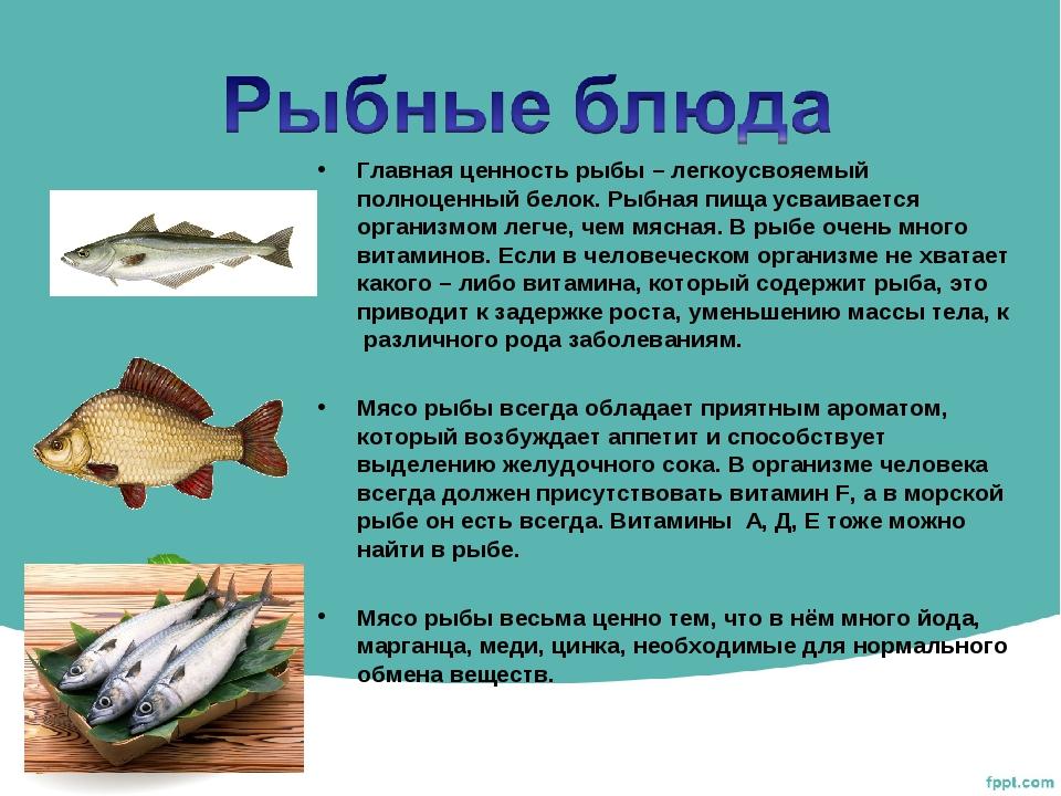 Главная ценность рыбы – легкоусвояемый полноценный белок. Рыбная пища усваива...